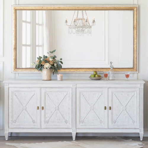 Eloquence® Artemis Sideboard in Gustavian White Finish with the Grande Eugenie Panel Mirror in Toasted Almond and Gold Finish and the Perfume Candle in Renaissance Rose