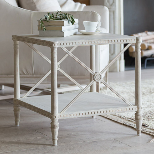 Eloquence® Tresor Side Table in Provencal White Finish
