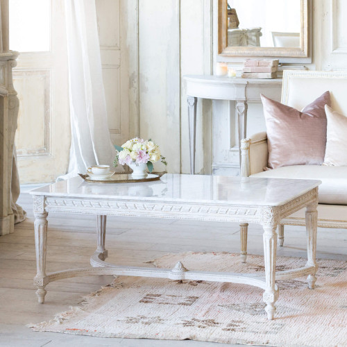New Design, Eloquence® Contessa Coffee Table in Chipped White Finish