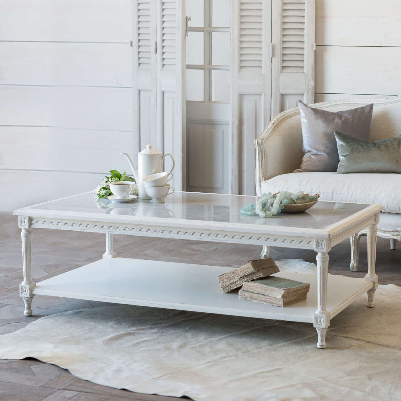 Eloquence® Grande Le Courte Coffee Table in Antique White Finish