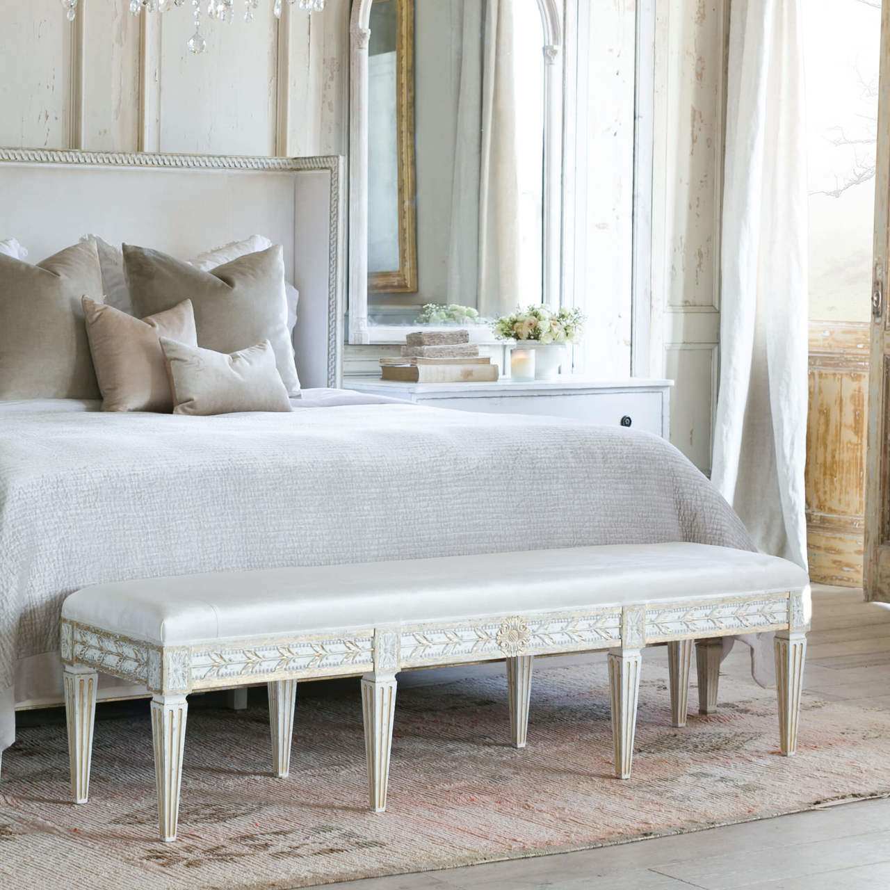 Picture of: Eloquence King Anais Bench In Ivory Velvet And Gold Leaf Finish