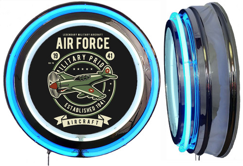 Air Force 1941 Aircraft NEON Lighted Wall Sign,  Blue  Neon,  NO CLOCK1