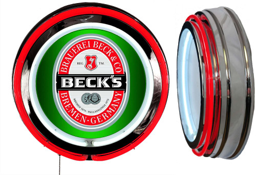 Becks Beer NEON Lighted Wall Sign,  Red  Neon,  NO CLOCK1