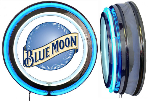 Blue Moon Beer NEON Lighted Sign,  Blue  Neon,  NO CLOCK1