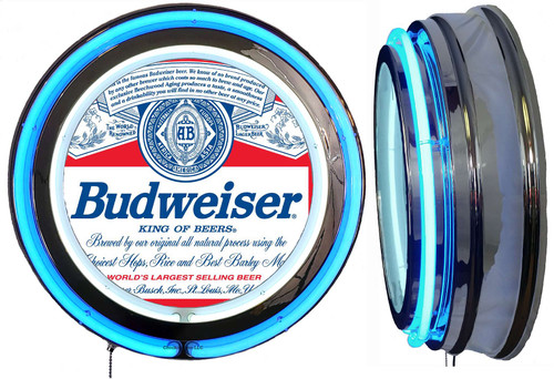 Budweiser Label Beer NEON Lighted Sign,  Blue  Neon,  NO CLOCK 1