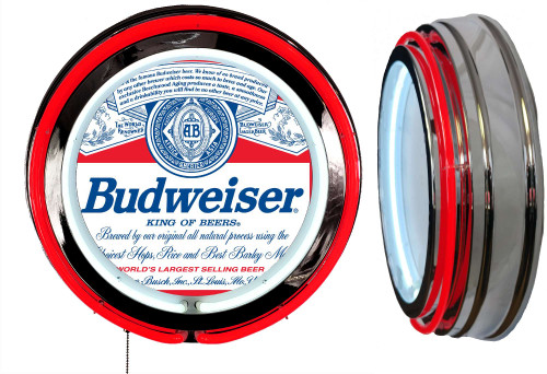 Budweiser Label Beer NEON Lighted Sign,  Red  Neon,  NO CLOCK 1