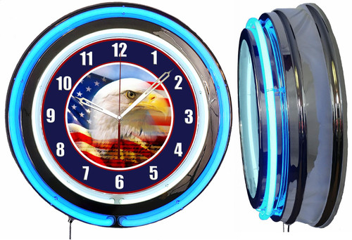 American Eagle Sign NEON Wall Clock BLUE Neon | Vintage Style1