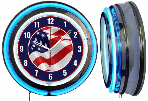 American Flag Sign, NEON Wall Clock BLUE Neon   Vintage Style1