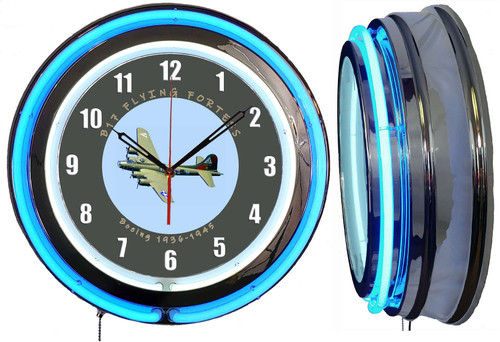 B17 Airplane Sign, NEON Wall Clock BLUE Neon | Vintage Style1