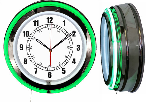 Basic Face Sign, NEON Wall Clock GREEN Neon | Vintage Style1