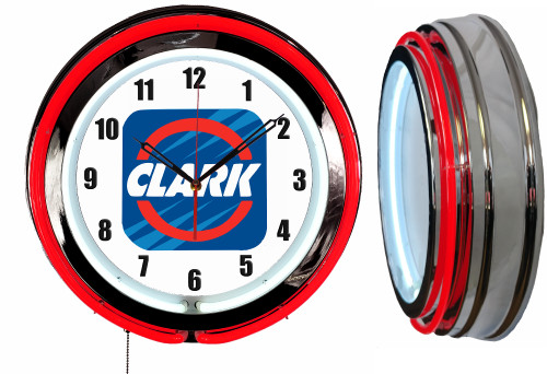Clark Oil Sign, NEON Wall Clock  RED Neon | Vintage Style1