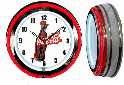 Coke Cola Bottle Sign, NEON Wall Clock RED Neon | Vintage Style1