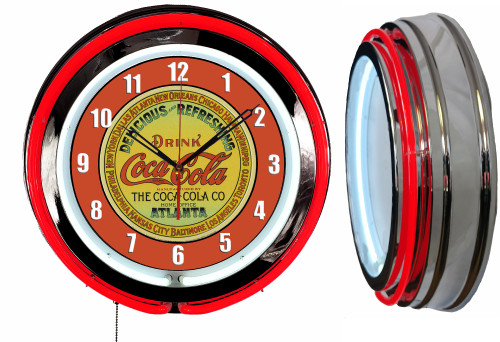 Coke Cola Cities Sign, NEON Wall Clock RED Neon | Vintage Style1