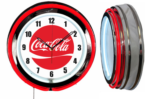 Coke Cola Sign, Logo 2 Sign, NEON Wall Clock RED Neon | Vintage Style1