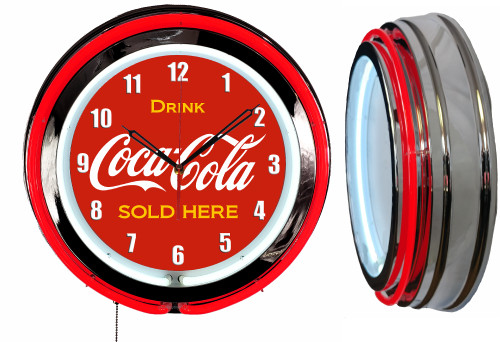 Coke Cola Soda Pop Sign, NEON Wall Clock - RED Neon | Vintage Style1