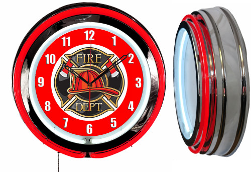 Fire Department Sign, NEON Wall Clock RED Neon   Vintage Style1