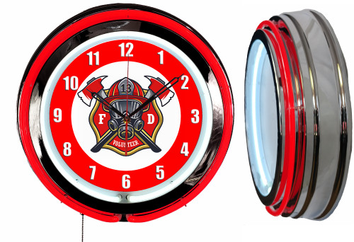 Firefighters Sign, NEON Wall Clock RED Neon   Vintage Style1