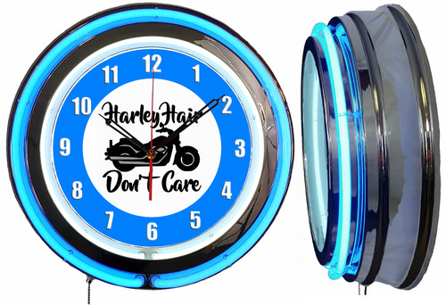 Harley Hair Sign, NEON Wall Clock BLUE Neon   Vintage Style1