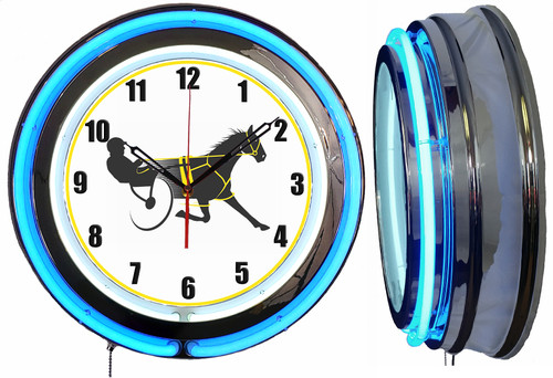 Horse Harness Racing Sign, NEON Wall Clock BLUE Neon   Vintage Style1