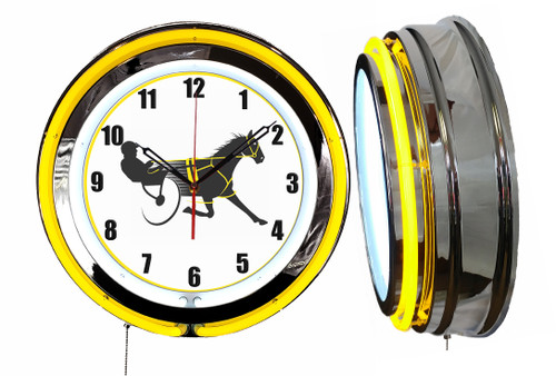 Horse Harness Racing Sign, NEON Wall Clock YELLOW Neon   Vintage Style1
