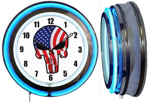 Jake Skull Red White Blue Sign, NEON Wall Clock  BLUE Neon   Vintage Style1