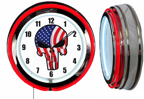 Jake Skull Red White Blue Sign, NEON Wall Clock  RED Neon   Vintage Style1
