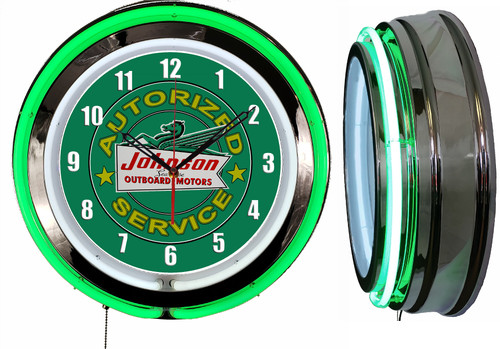Johnson Outboard Motors Service Sign NEON Wall Clock, GREEN Neon | Vintage Style1