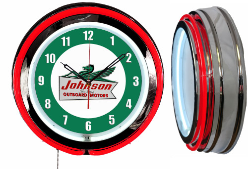 Johnson Outboard Motors NEON Wall Clock RED Neon | Vintage Style1