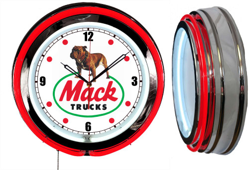 Mack Dog Trucks Sign, NEON Wall Clock RED Neon   Vintage Style1