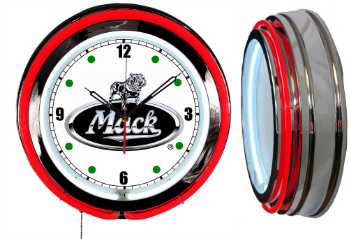 Mack Trucks Sign, NEON Wall Clock RED Neon   Vintage Style1