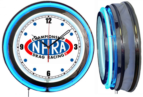 NHRA Blue Ring NEON Wall Clock BLUE Neon | Vintage Style