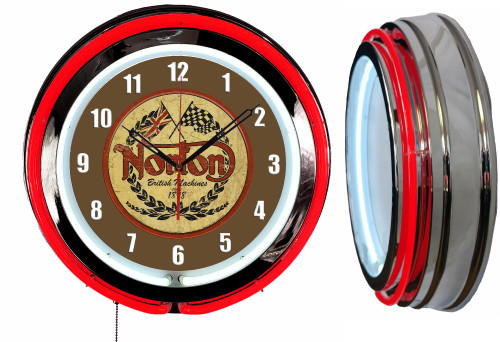 Norton Motorcycles Sign, NEON Wall Clock RED Neon   Vintage Style