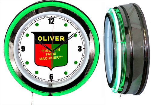 Oliver Tractors Sign, NEON Wall Clock  GREEN Neon   Vintage Style