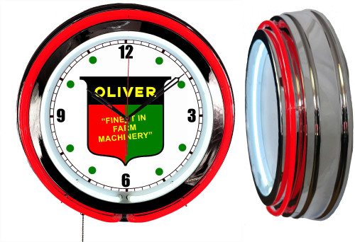 Oliver Tractors Sign, NEON Wall Clock  RED Neon   Vintage Style