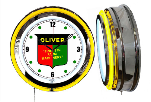 Oliver Tractors Sign, NEON Wall Clock  YELLOW Neon   Vintage Style