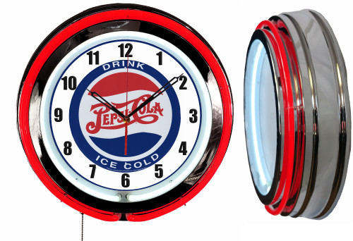 Pepsi Drink Ice Cold Soda Pop Sign, NEON Wall Clock RED Neon   Vintage Style