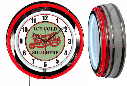 Pepsi Ice Cold Sign, NEON Wall Clock  RED Neon   Vintage Style