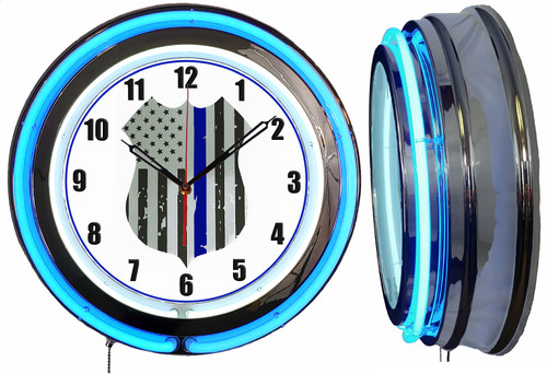 Police Badge Thin Blue Line Sign, NEON Wall Clock BLUE Neon   Vintage Style