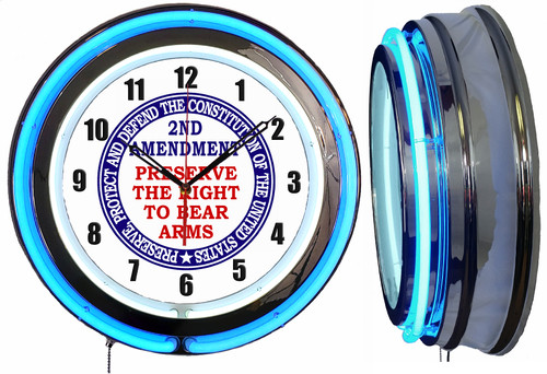 Preserve The 2nd Amendment Sign, NEON Wall Clock BLUE Neon   Vintage Style