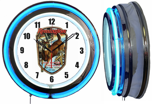 Remington Country Sign, NEON Wall Clock BLUE Neon   Vintage Style