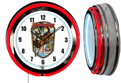 Remington Sign, NEON Wall Clock RED Neon   Vintage Style