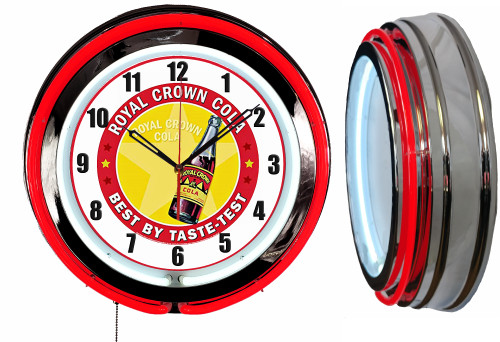 Royal Crown Soda Pop Sign, NEON Wall Clock RED Neon   Vintage Style