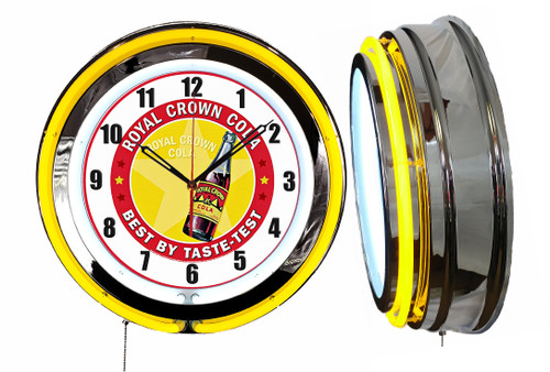 Royal Crown Soda Pop Sign, NEON Wall Clock YELLOW Neon   Vintage Style