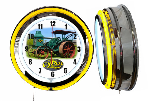 Rumely Oil Pull Tractor Sign, NEON Wall Clock , YELLOW Neon   Vintage Style