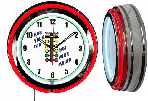 Run Your Car Not Your Mouth! NEON Wall Clock RED Neon   Vintage Style