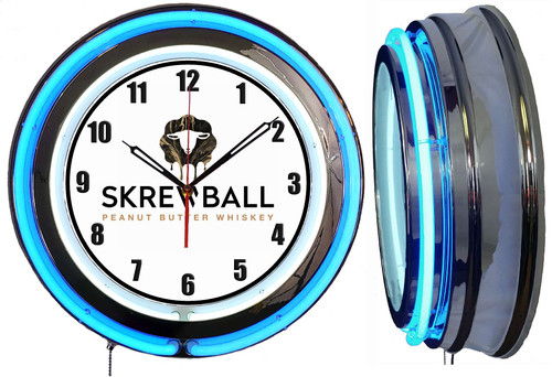Screwball Whiskey Sign, NEON Wall Clock BLUE Neon   Vintage Style