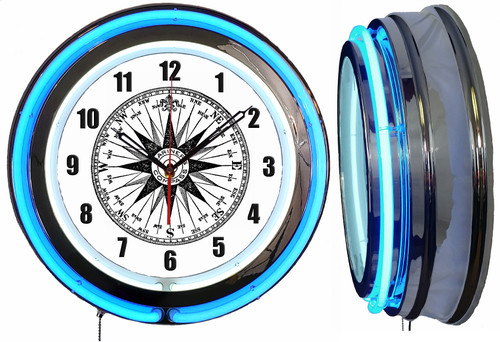 Ships Compass Rose NEON Wall Clock BLUE Neon | Vintage Style