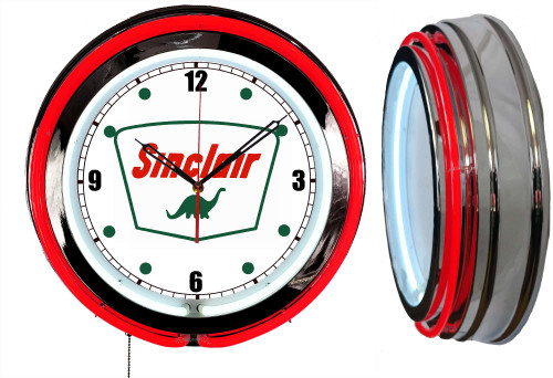 Sinclair Logo Sign, NEON Wall Clock  RED Neon | Vintage Style
