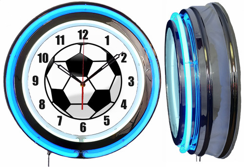 Soccer Ball Sign, NEON Wall Clock BLUE Neon   Vintage Style