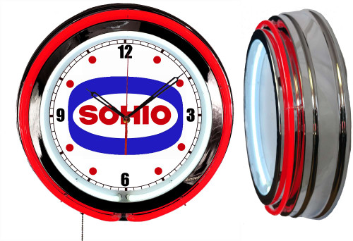 Sohio Oil Sign, NEON Wall Clock RED Neon | Vintage Style